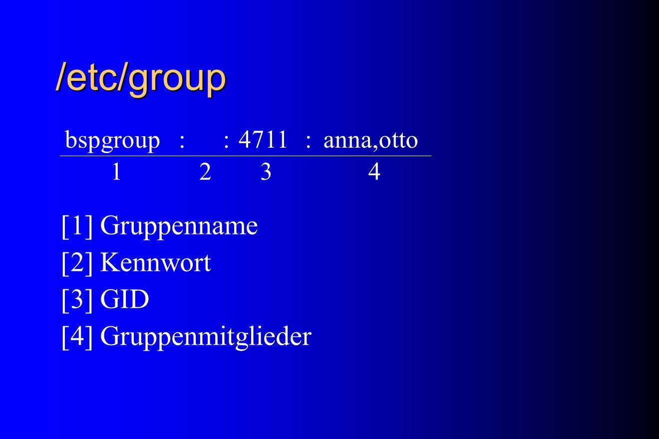 /etc/group [1] Gruppenname [2] Kennwort [3] GID [4] Gruppenmitglieder